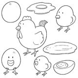 Vector set of chicken and egg. Hand drawn cartoon, doodle illustration Royalty Free Stock Images