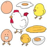 Vector set of chicken and egg. Hand drawn cartoon, doodle illustration Stock Images