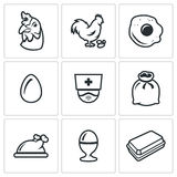 Vector Set of Chicken Icons.  Royalty Free Stock Photography