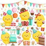A Vector Set of Chickens Celebrating Birthday with Cakes and Many Gifts royalty free stock images