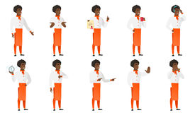 Vector set of chief-cooker characters. African chief-cook holding certificate. Full length of chief-cook with certificate. Chief-cook showing certificate and Stock Photography