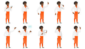 Vector set of chief-cooker characters. Chief-cook singing to the microphone. Full length of chief-cook singing with closed eyes. Happy chief-cook singing to the Royalty Free Stock Photography