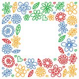 Vector set of child drawing flowers icons in doodle style. Painted, colorful, pictures on a piece of paper on white background royalty free illustration