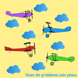 Vector set of children colored retro planes and clouds Stock Images