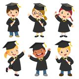 Set of children in a graduation gown and mortar board. Vector set of children in a graduation gown and mortar board