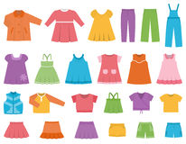 Vector set children`s clothes for girls. Royalty Free Stock Photos