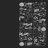 Vector set of children\'s kitchen and cooking drawings icons in doodle style. Painted, black monochrome, chalk pictures on a stock illustration
