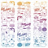Vector set of children`s kitchen and cooking drawings icons in doodle style. Painted, colorful, gradient on a piece of linear royalty free illustration