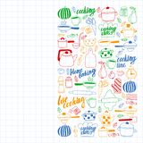 Vector set of children`s kitchen and cooking drawings icons in doodle style. Painted, colorful, pictures on a sheet of checkered vector illustration