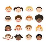 Vector set of children smiling faces. Stock Photography