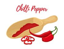 Vector set of chilli pepper with wooden spool. Powder of spicy condiment. Inside the ladle. Cartoon flat style Royalty Free Stock Images