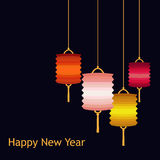Vector set of Chineese Lanters decoration colorful fun set Royalty Free Stock Photos