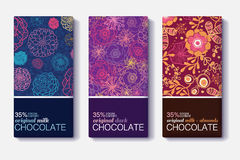 Vector Set Of Chocolate Bar Package Designs With Colorful Floral Patterns. Milk, Dark, Almond. Editable Packaging. Template Collection. Surface pattern design Stock Photos