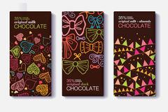 Vector Set Of Chocolate Bar Package Designs With Fun Party Decor Hearts, Bows, Flags Patterns. Milk, Dark, Almond. Editable Packaging Template Collection Royalty Free Stock Image