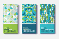 Vector Set Of Chocolate Bar Package Designs With Geometric Mosaic Patterns. Editable Packaging Template Collection. Stock Photos
