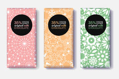 Vector Set Of Chocolate Bar Package Designs With Modern Black and Pastel Colors Geometric Patterns. Editable Packaging Royalty Free Stock Photo