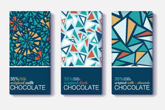 Vector Set Of Chocolate Bar Package Designs With Vintage Geometric Mosaic Patterns. Editable Packaging Template Stock Images