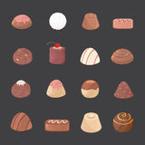 Vector set of chocolate candies. cartoon candies on dark background Royalty Free Stock Photography