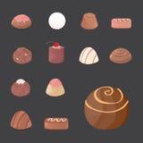 Vector set of chocolate candies. cartoon illustartion on dark background Stock Images