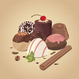 Vector set of chocolate candies . composition of candies Stock Photos