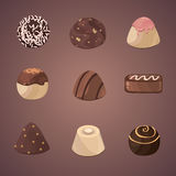 Vector set of chocolate candies. Vector set of chocolate diferent candies Royalty Free Stock Images