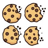 Vector set of chocolate chip bitten cookies. Isolated on white background. symbols of homemade biscuit choc cookie with a bite and crumbs. top view of flat Royalty Free Stock Photography