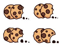 Vector set of chocolate chip bitten cookies. Isolated on white background. symbols of homemade biscuit choc cookie with a bite and crumbs. top view of flat royalty free illustration