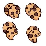 Vector set of chocolate chip cookies with bite. Isolated on white background. homemade biscuit choc cookie symbol collection. top view of flat cookie clipart vector illustration