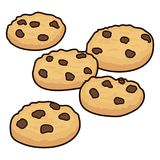 Vector set of chocolate chip cookies. Isolated on white background. homemade biscuit choc cookie collection Royalty Free Stock Photo