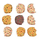 Vector set of chocolate chip cookies. With sprinkles isolated on white background. homemade bitten biscuit choc cookie collection Stock Photography