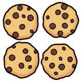 Vector set of chocolate chip whole cookies. Isolated on white background. homemade biscuit choc cookie symbol collection. top view of flat cookie clipart vector illustration