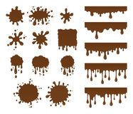 Vector set of chocolate drops. And blots. Collection of brown splashes liquid and blobs. Abstract vector shapes on white background stock illustration