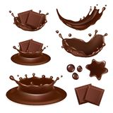 Vector realistic chocolate form icon set. Vector set of chocolate form icons isolated on white background. Tasty pieces of chocolate bar, molten chocolate Stock Photography