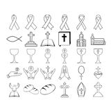 Vector set of christian religious icons. On white background Royalty Free Stock Photography