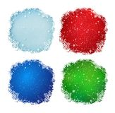 Vector set Christmas backgrounds. Vector set of blue, green and red Christmas backgrounds with snowflakes and falling snow Stock Photography