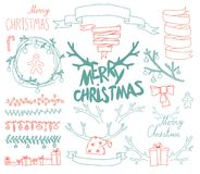 Vector Set Christmas Calligraphic Design Elements Stock Image