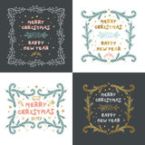 Vector set of Christmas cards with Christmas decorations. Hand drawn Royalty Free Stock Photos