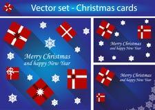 Vector set of christmas cards Stock Photos