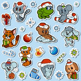 Vector set of Christmas cute animals, color cartoon stickers Royalty Free Stock Photos