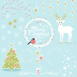 Vector Set of Christmas Decorative Elements. With a deer, a bullfinch and a Christmas tree Royalty Free Stock Images