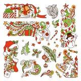 Vector set of Christmas design elements. stock illustration