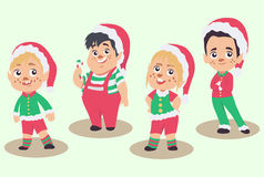 Vector set of Christmas elves, isolated on white background. Vector set of Christmas elves in different postures, isolated on white background. Cute cartoon Stock Image