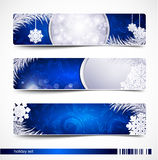 Vector set of Christmas festive banners. With snowflakes and silver fir twig Stock Images