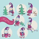 Vector Set of Christmas Gnome. Funny Elves Stock Photography