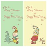 Vector Set of Christmas Gnome. Funny Elves Royalty Free Stock Photos