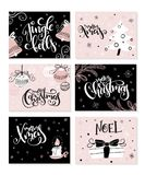 Vector set of christmas greeting cards with hand lettering phrases and decorative elements and characters.  Stock Photos