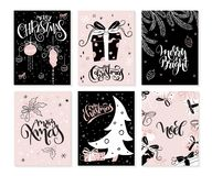 Vector set of christmas greeting cards with hand lettering phrases and decorative elements and characters.  Stock Images