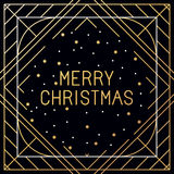 Vector set of christmas greeting cards. Merry christmas hand lettering in outline style - decorative typography and line flourishes in golden colour on white Royalty Free Stock Photography