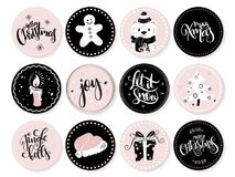 Vector set of christmas greeting round tags with hand lettering phrases and decorative elements and characters.  Stock Photos