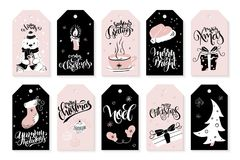 Vector set of christmas greeting tags with hand lettering phrases and decorative elements and characters.  Royalty Free Stock Photography